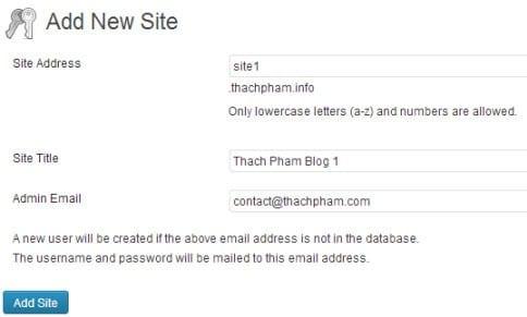 Tạo blog con trong WordPress Multi User