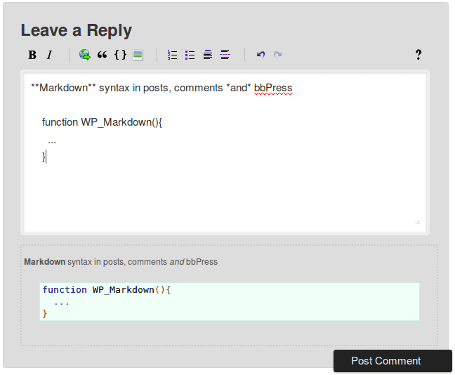 WP Markdown cho comment