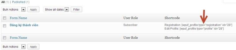 shortcode form đăng ký thành viên