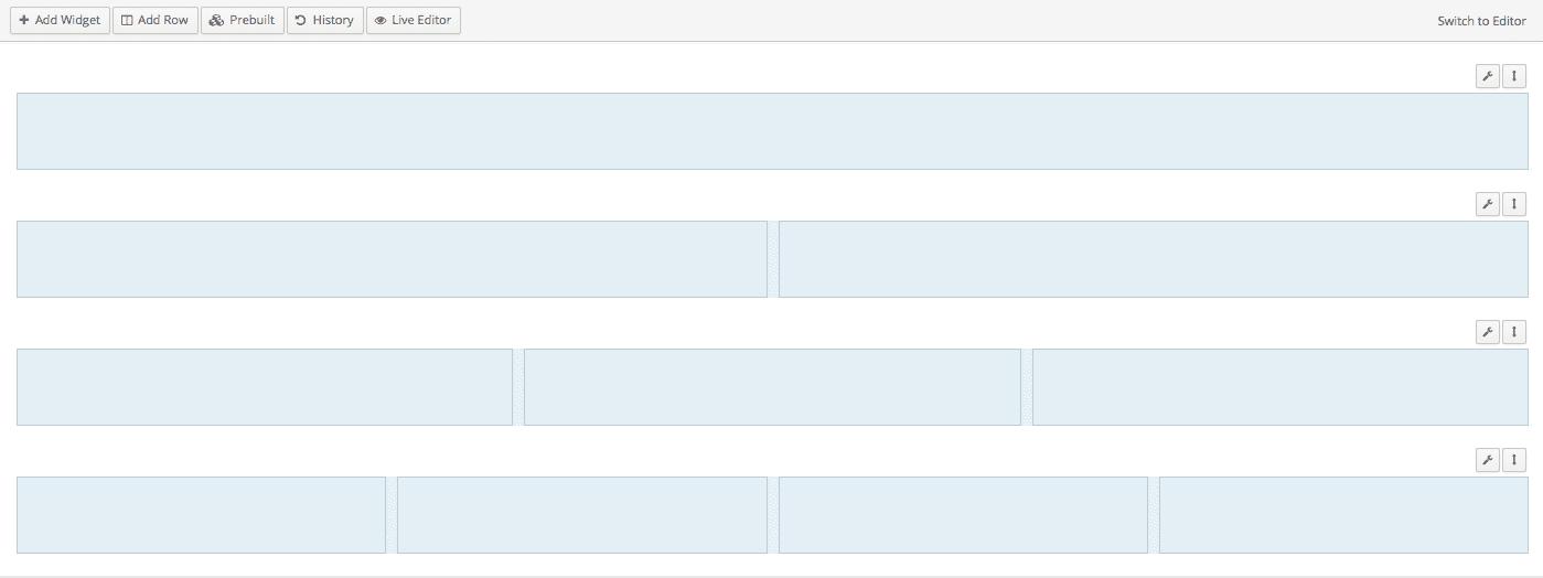 Khu vực làm việc của Page Builder by Origin Site