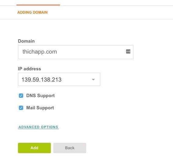 Điền domain cần add và chọn IP sử dụng