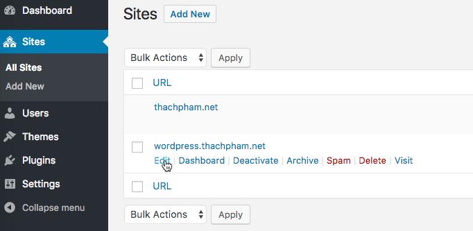 [Multisite] Tạo website con và cài plugin/theme 103