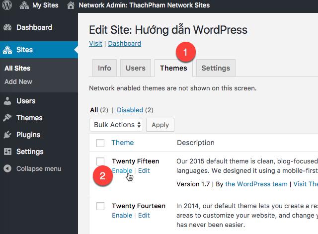 [Multisite] Tạo website con và cài plugin/theme 202